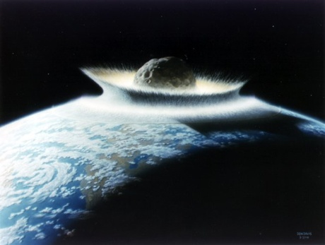And here's an asteroid striking the Earth (artist's impression). Such shit happens a lot in Debatable Space.